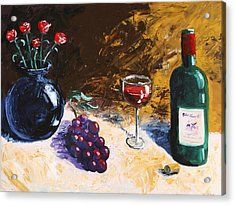 Acrylic Print featuring the painting Wine Grapes And Roses Still Life Painting by Mark Webster