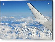 Wings Of Flying Airplane Over French Alps Acrylic Print by Sami Sarkis