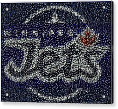 Winnipeg Jets Puck Mosaic Acrylic Print by Paul Van Scott