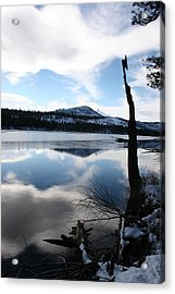 Winter At The Lake Acrylic Print by Ken Riddle