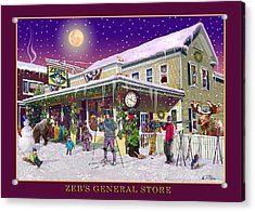 Winter At Zebs General Store In North Conway Nh Acrylic Print