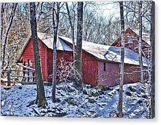 Winter Barn Acrylic Print by Nancy Rohrig
