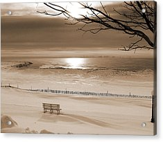 Winter Beach Morning Sepia Acrylic Print