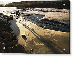 Winter Bicycling On The Partially Acrylic Print by Kate Thompson