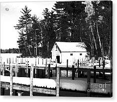 Winter Boathouse Acrylic Print by Christy Bruna