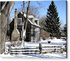Acrylic Print featuring the mixed media Winter Cabin 1 by Bruce Ritchie