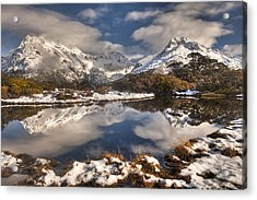 Winter Dawn Reflection Of Mount Acrylic Print by Colin Monteath