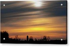 Winter Farm Sunset Acrylic Print