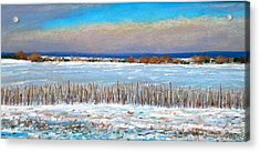 Winter Fields With Snow Fence Acrylic Print by Bob Richey