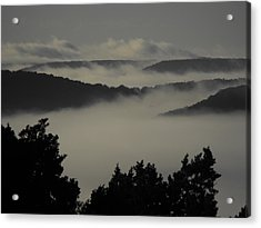 Winter Fog Mountains Acrylic Print by Rebecca Cearley