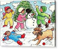 Acrylic Print featuring the drawing Winter Fun by Dee Davis