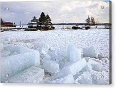 Winter In Lake Simcoe Acrylic Print by Charline Xia