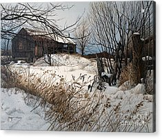Winter In Prince Edward County Acrylic Print by Robert Hinves