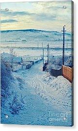 Winter In Romanian Countryside Acrylic Print by Gabriela Insuratelu