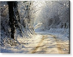 Winter In Small Countryside Road Acrylic Print by © Frédéric Collin
