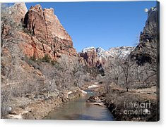 Winter In Zion Acrylic Print by Bob and Nancy Kendrick