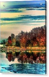 Winter Lake Fantasm Acrylic Print by Bill Tiepelman