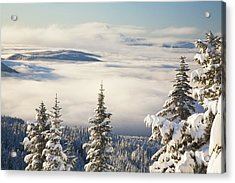 Winter Landscape With Clouds And Acrylic Print by Craig Tuttle