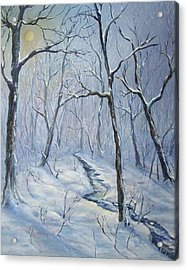 Acrylic Print featuring the painting Winter Light by Katalin Luczay