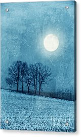 Winter Moon Over Farm Field Acrylic Print by Jill Battaglia