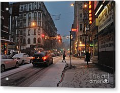 Winter Night On Mulberry Street Acrylic Print by Ed Rooney