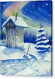 Winter Outhouse Acrylic Print by Peggy Wilson