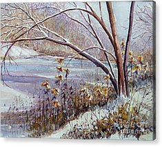 Winter River Acrylic Print by Louise Peardon