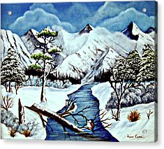 Acrylic Print featuring the painting Winter Serenity by Fram Cama