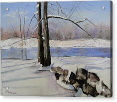 Acrylic Print featuring the pastel Winter Solace by Cindy Plutnicki