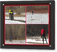 Winter Sports 2 On Bear Creek Trail Acrylic Print by Gretchen Wrede