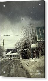 Winter Street Scene With A Car In A Small Town  Acrylic Print by Sandra Cunningham
