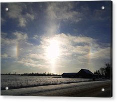 Acrylic Print featuring the mixed media Winter Sun Dogs by Bruce Ritchie