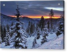 Winter Sunset Acrylic Print by Ionut Hrenciuc