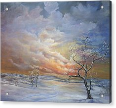 Acrylic Print featuring the painting Winter Sunset by Katalin Luczay