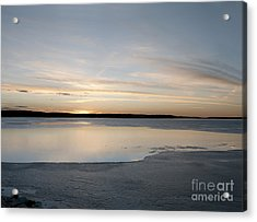 Acrylic Print featuring the photograph Winter Sunset Over Lake by Art Whitton