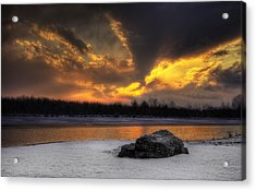 Acrylic Print featuring the photograph Winter Sunset by Yelena Rozov
