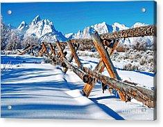 Winter Tetons Fence Acrylic Print by Richard Brady