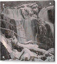 Winter Waterfalls Acrylic Print by Giacomo Alessandro Morotti