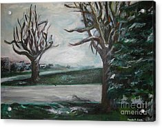 Winterland Slumber Acrylic Print by Paula Cork