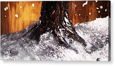 Acrylic Print featuring the painting Wintertree Trunk by Ayasha Loya