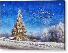 Wintry Christmas Tree Greeting Card Acrylic Print by Lois Bryan