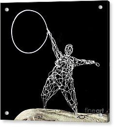 Wire Lady Holding Hoop Acrylic Print by Tommy  Urbans