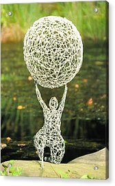 Wire Woman Holding A Ball Acrylic Print by Tommy  Urbans