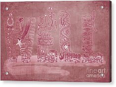 Acrylic Print featuring the digital art Wishing Well Breast Cancer Tribute by Laura Brightwood