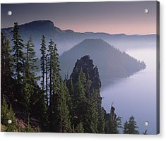 Wizard Island In The Center Of Crater Acrylic Print by Tim Fitzharris