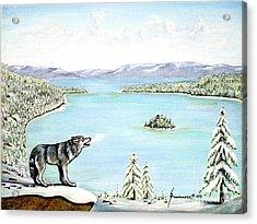 Wolf At Lake Tahoe Acrylic Print by Jerome Stumphauzer