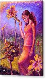Woman Among The Sunflowers Acrylic Print