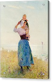 Woman And Child In A Meadow Acrylic Print