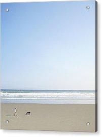 Woman And Dog On Beach Acrylic Print by Richard Newstead