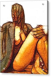 Woman And Jacket Acrylic Print by Shan Peck